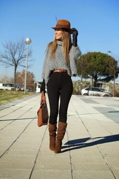 Zara Jerseys, Primark Leggings and Just Fab Bolsos Casual Winter Outfits, Classy Outfits, Stylish Outfits, Mode Cool, Vetement Fashion, Looks Black, Winter Mode, Looks Chic, Winter Fashion Outfits