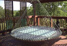 outdoor porch bed swing round outdoor swing bed trampoline hanging bed swing made from recycled within ideas round outdoor with canopy outdoor porch bed swing round Outdoor Hanging Bed, Outdoor Beds, Hanging Beds, Outdoor Decor, Hanging Furniture, Outdoor Hammock, Outdoor Furniture, Outdoor Bedroom, Hanging Table
