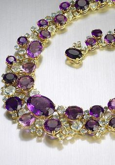 Verdura created more subdued designs besides the big, bold designs he's known for. This was aquamarine and amethyst necklace was made in 1969. See more designs http://www.jewelrynerd.org/blog.html