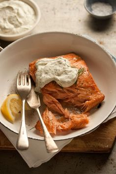 pan fried salmon with a lemony dill dressing