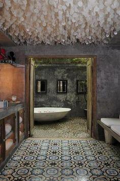 Bathroom - Concrete tiles, soft-crete Venetian plaster walls and capiz shell ceiling.a capiz shell ceiling. Decoration Inspiration, Bathroom Inspiration, Design Inspiration, Design Ideas, Design Design, Capiz Chandelier, Pendant Lamps, Pendant Lights, Regal Bad