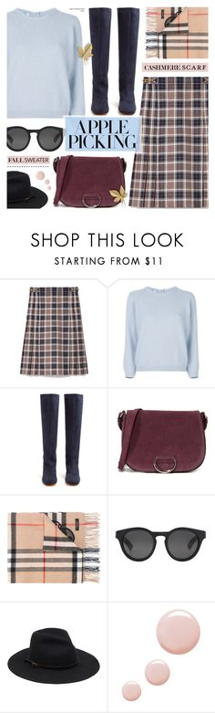 """Harvest Time: Apple Picking"" by anyasdesigns ❤ liked on Polyvore featuring Tory Burch, Prada, Maryam Nassir Zadeh, Little Liffner, Burberry and Topshop"