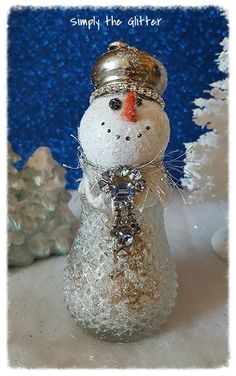 """Snowman Assemblage, Vintage Salt Shaker Snowman """"Willow"""", Glass shaker, Snowman decoration, Christmas Collectible, Snow Lady, Original by SimplyTheGlitter on Etsy"""