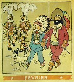 ¤ Calendrier Hergé Février 1944. Tintin et Milou le capitaine Haddock (et les Dupondt) déguisés pour le Carnaval. #HERGÉ