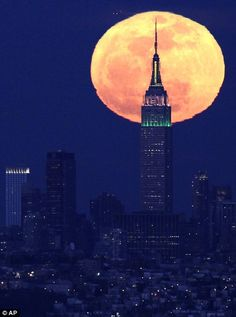 PINK MOON  (1st full moon of spring over NYC 4-7-2012)