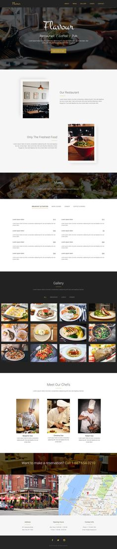 'Flavour' is a One Page HTML template suited for a restaurant, coffee shop or pub. Features include fixed header navigation (that smooth scrolls to relevant sections), food menu, big image gallery (with course category filter), team (aka chefs), Google Maps and social icons in the footer.