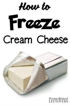 How to Freeze Cream Cheese- Try these tips on freezing and thawing cream cheese…. How to Freeze Cream Cheese- Try these tips on freezing and thawing cream cheese. You can extend the life of cream cheese up to 6 months by freezing it! Freezer Cooking, Freezer Meals, Cooking Tips, Freezer Hacks, Freezer Recipes, Cooking Classes, Freezer Storage, Cooking Games, Easy Cooking