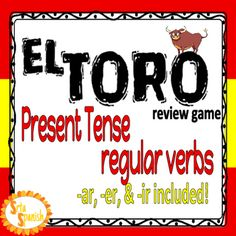 Play El Toro! to review verb forms with your students! Students try and collect all the forms of a verb before the other players in a fast-paced trading game. The first person to collect all the forms of the verb wins! Included regular AR/ER/IR verbs: hablar, cantar, bailar, comer, beber, vender, escribir, and vivir.The vosotros form is included, but if that isn't something you use with your students there is a second set without vosotros!
