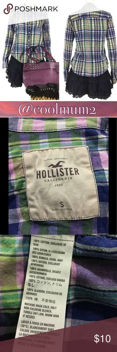 """🆕Listing Hollister Button Down Top Hollister button down top.                            Size S.                                                            100% cotton.                                                 Length 24"""".                                                    Bust 17 1/2"""".                                                   Blue. Lime green. Pink. White. Hollister Tops Button Down Shirts"""