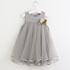 Princess Dress Sleeveless Appliques Floral Design for Girls Clothes Party Dress 3-7Y Clothes