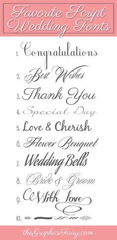 We're sharing some of our favorite script wedding fonts! All give a nice for… We're sharing some of our favorite script wedding fonts! All give a nice formal look, from elegant scripts, to extra flourishes, to calligraphy pen Calligraphy Fonts, Typography Fonts, Hand Lettering, Lettering Tutorial, Lettering Styles, Wedding Calligraphy, Typography Design, Fancy Fonts, Cool Fonts