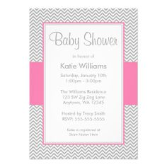 Pink and Gray Chevron Baby Shower Invitations