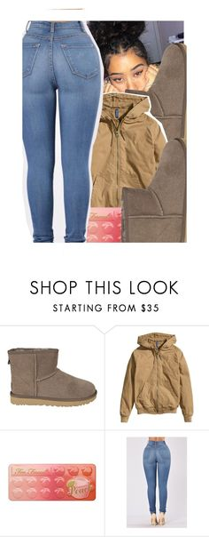 """fall look"" by bbynisa ❤ liked on Polyvore featuring UGG, H&M, Too Faced Cosmetics and GlassesUSA"