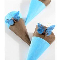 Papillon plume turquoise sur tige Les 6