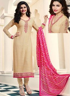 Prachi Desai Cream Faux Georgette Churidar Designer Suit