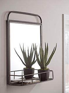 NEW Industrial Shelf Mirror - Wall Mirrors - Mirrors Industrial Mirrors, Industrial Shelving, Industrial Furniture, Industrial Style, Vintage Mirrors, Wall Mounted Hooks, Wall Hooks, Mirror With Shelf, Ideas