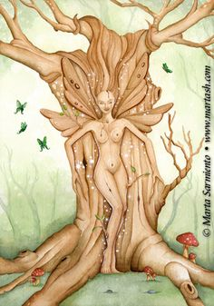 SciFi and Fantasy Art Tree Spirit by Marta Sarmiento Herrero~ This one looks to have a mischevious & playful spirit!