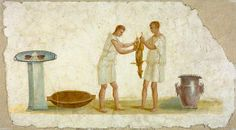 Roman Wall Painting Fragment with a Scene of Meal Preparation in the Getty Villa