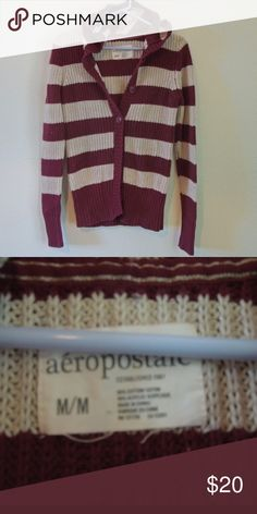 Aeropostale Sweater Maroon and cream striped Aeropostale sweater, super cute, hasn't been worn a whole lot and there are no signs of wear. Aeropostale Sweaters