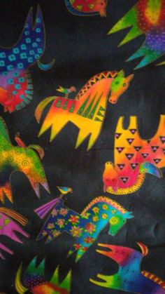 Very Rare Laurel Burch bright Mythical Horses Toss fabric yards for Clothworks  #LaurelBurch