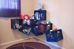 So doing this for my little boys room. Books , plush n toy cars. Painting them first then ill post.