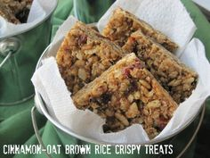 Cinnamon Oat Brown Rice Crispy Treats.  Gluten Dairy Free