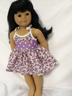 Lavender Bow Dress - (45) Dresses - Doll Clothes by Jane Fulton