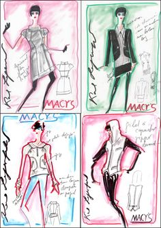 Karl Lagerfeld for Macy's 'Impulse' Collection Sketches #Macyscampustour #spon