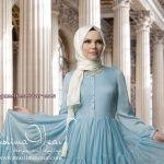 muslima wear 2014-2015 koleksiyonu iç göstermeyen uzun kapalı tesettür elbise modelleri 029