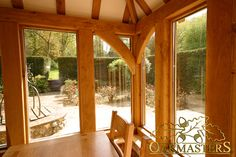 Braces inside oak framed garden room.