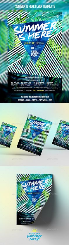 Summer Is Here Party Flyer Template #design Download: http://graphicriver.net/item/summer-is-here-party-flyer-template/11809307?ref=ksioks