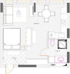 Alaprajz - Egy kis párizsi lakás hangulata 36m2-en - egyszobás otthon, szürke konyha, hálófülke, halszálka parketta