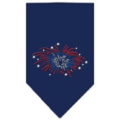 Fireworks Rhinestone Bandana Navy Blue Small
