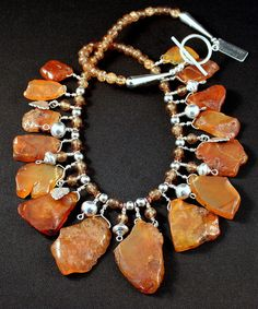 Carnelian Rough Cut Petal Necklace with Crackle Glass, Czech Glass, and Sterling Silver Beads, Charms & Findings