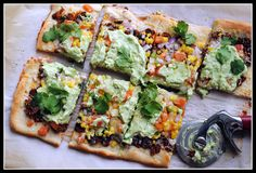 Southwestern Pizza with Black Beans, Corn, and Avocado Cream {vegetarian}