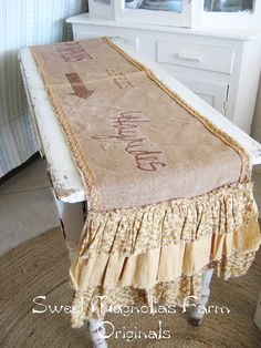 """Burlap and Lace Table Runner - """"Pumpkins Apples Hayrides"""" - Fall - AAnother exampleRustic Romance. $58.50, via Etsy."""