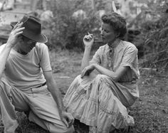 John Huston and Katharine Hepburn during the filming of The African Queen.