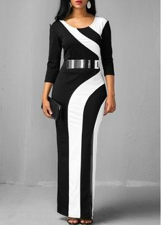 Side Slit Color Block Three Quarter Sleeve Dress  | Rosewe.com - USD $31.88