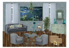 Peacock & Monet Waterlilies inspired room