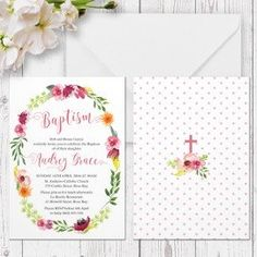 Floral Baptism or Christening invitation Floral Wreath printed on double sided cardstock Peach Perfect Australia
