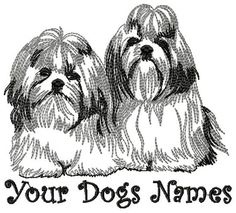 Personalized TWO SHIH TZU Embroidered Dog Breed by OneDogFashions