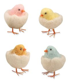 We can't get enough of these darling felted wool Chicks in Eggs. - Wool felt. - 4 Assorted colors. - 2-3/4″. - Bethany Lowe. - Imported.