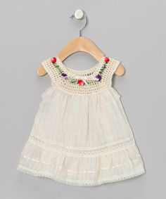 Take a look at this Natural Lucila Yoke Dress  - Infant, Toddler & Girls by Little Cotton Dress on #zulily today!