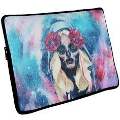 Halloween Day of the Dead Sugar Skull Girl Rain Laptop Sleeve 17 inch