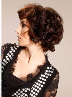 Chic Curly Haircut With Funky Bang Side View