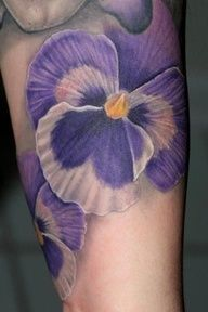 no outlining on a pansy tattoo