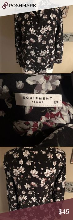 """Equipment Leema Silk shirt. Size M. Floral. Silk Equipment Leema Silk shirt. Size S. Adorable silk top. In excellent condition! Measurements are approximate, and are of item laying flat,  Armpit to armpit: 18""""  Sleeve to sleeve: 52""""  Length: 27""""   No try ons and no trades! Equipment Tops Blouses"""