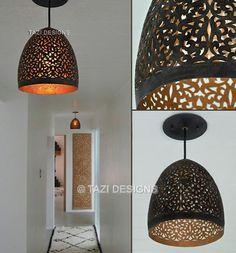 bronze lamp shade. hallway lights.    http://www.tazidesigns.com/catalog/Lighting/Modern_Moroccan_Lighting/1884