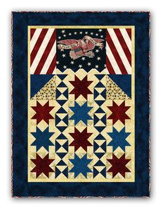 """This wonderful design is the perfect summertime banner for your home. Using the Minick and Simpson Nantucket Bunting Eagle (Yes -- We Still Have Them For This Kit ONLY!) along with Stonehenge Stars and Stripes Fabric, we have an exclusive timeless design thatmeasures 44"""" x 58"""".Tonal stars, mottled blues and reds, and eagle backgrounds give this quilt so much depth, too.  Thekit includes the eagle panel, fabric, binding, and easy-to-follow instructions required to complete the kit. This…"""