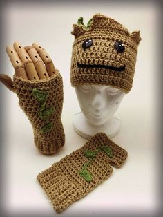 Crochet Groot Hat and Fingerless Gloves Set